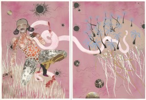 This is what came up when I googled Samuel Delany, Marissa Perel and Rowland Saifi.  A diptych of a monster in high heels!